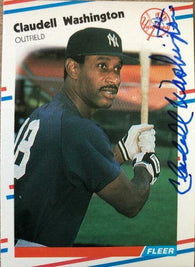 Claudell Washington Signed 1988 Fleer Baseball Card - New York Yankees