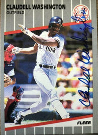 Claudell Washington Signed 1989 Fleer Baseball Card - New York Yankees