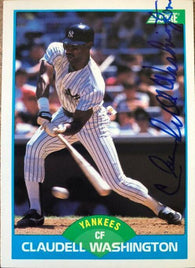 Claudell Washington Signed 1989 Score Baseball Card - New York Yankees