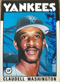 Claudell Washington Signed 1986 Topps Baseball Card - New York Yankees