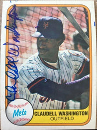 Claudell Washington Signed 1981 Fleer Baseball Card - New York Mets