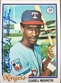 Claudell Washington Signed 1978 Topps Baseball Card - Texas Rangers