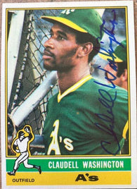 Claudell Washington Signed 1976 Topps Baseball Card - Oakland A's