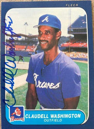 Claudell Washington Signed 1986 Fleer Baseball Card - Atlanta Braves