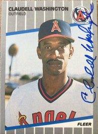Claudell Washington Signed 1989 Fleer Baseball Card - California Angels