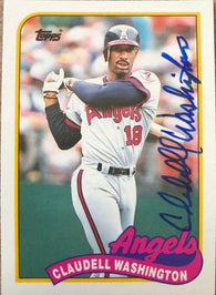 Claudell Washington Signed 1989 Topps Baseball Card - California Angels