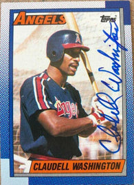Claudell Washington Signed 1990 Topps Baseball Card - California Angels