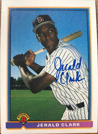 Jerald Clark Signed 1991 Bowman Baseball Card - San Diego Padres - PastPros