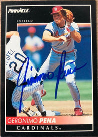 Geronimo Pena Signed 1992 Pinnacle Baseball Card - St Louis Cardinals - PastPros