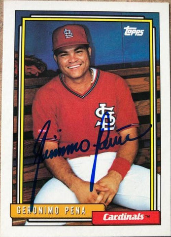 Geronimo Pena Signed 1992 Topps Baseball Card - St Louis Cardinals - PastPros