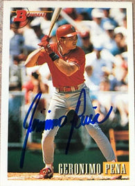 Geronimo Pena Signed 1993 Bowman Baseball Card - St Louis Cardinals - PastPros