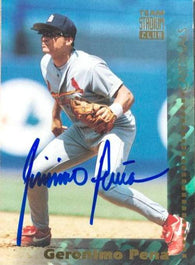 Geronimo Pena Signed 1994 Stadium Club Baseball Card - St Louis Cardinals - PastPros
