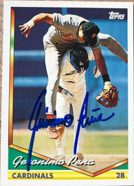 Geronimo Pena Signed 1994 Topps Baseball Card - St Louis Cardinals - PastPros