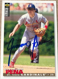 Geronimo Pena Signed 1995 Collector's Choice Baseball Card - St Louis Cardinals - PastPros