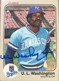 UL Washington Signed 1983 Fleer Baseball Card - Kansas City Royals - PastPros
