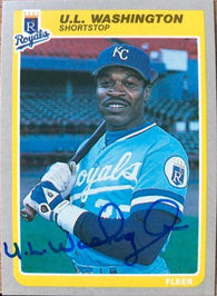 UL Washington Signed 1985 Fleer Baseball Card - Kansas City Royals - PastPros