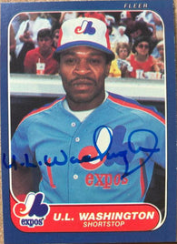 UL Washington Signed 1986 Fleer Baseball Card - Montreal Expos - PastPros