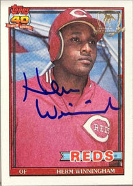 Herm Winningham Signed 1991 Topps Desert Shield Baseball Card - Cincinnati Reds