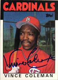 Vince Coleman Signed 1986 Topps Baseball Card - St Louis Cardinals