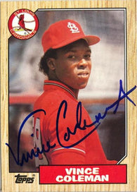 Vince Coleman Signed 1987 Topps Baseball Card - St Louis Cardinals