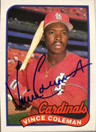 Vince Coleman Signed 1989 Topps Baseball Card - St Louis Cardinals