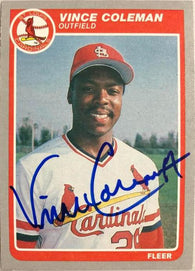 Vince Coleman Signed 1985 Fleer Update Baseball Card - St Louis Cardinals
