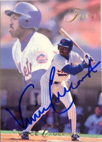Vince Coleman Signed 1993 Flair Baseball Card - New York Mets