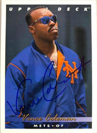 Vince Coleman Signed 1993 Upper Deck Baseball Card - New York Mets