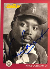 Vince Coleman Signed 1991 Studio Baseball Card - St Louis Cardinals