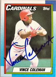 Vince Coleman Signed 1990 Topps Baseball Card - St Louis Cardinals