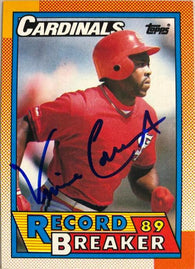 Vince Coleman Signed 1990 Topps RB Baseball Card - St Louis Cardinals