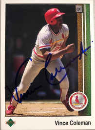 Vince Coleman Signed 1989 Upper Deck Baseball Card - St Louis Cardinals
