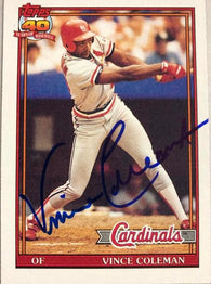Vince Coleman Signed 1991 Topps Baseball Card - St Louis Cardinals