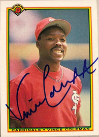 Vince Coleman Signed 1990 Bowman Baseball Card - St Louis Cardinals