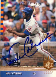 Vince Coleman Signed 1993 SP Baseball Card - New York Mets
