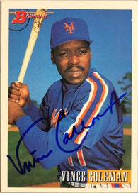 Vince Coleman Signed 1993 Bowman Baseball Card - New York Mets