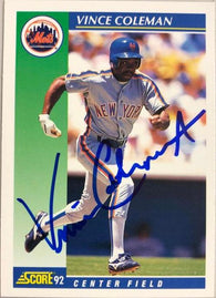 Vince Coleman Signed 1992 Score Baseball Card - New York Mets