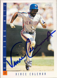 Vince Coleman Signed 1993 Score Baseball Card - New York Mets