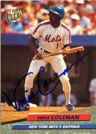 Vince Coleman Signed 1992 Fleer Ultra Baseball Card - New York Mets