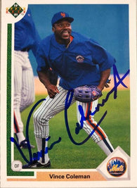 Vince Coleman Signed 1991 Upper Deck Baseball Card - New York Mets