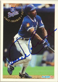Vince Coleman Signed 1994 Fleer Baseball Card - Kansas City Royals