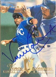 Vince Coleman Signed 1994 Flair Baseball Card - Kansas City Royals