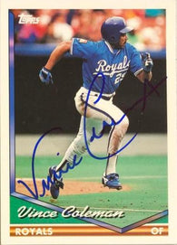 Vince Coleman Signed 1994 Topps Baseball Card - Kansas City Royals