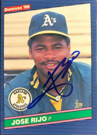 Jose Rijo Signed 1986 Donruss Baseball Card - Oakland A's