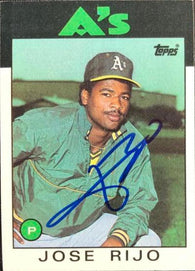 Jose Rijo Signed 1986 Topps Baseball Card - Oakland A's