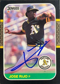 Jose Rijo Signed 1987 Donruss Baseball Card - Oakland A's