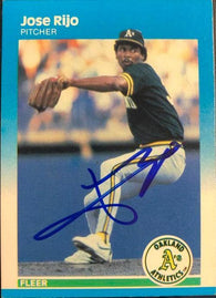 Jose Rijo Signed 1987 Fleer Baseball Card - Oakland A's