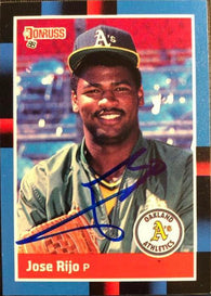 Jose Rijo Signed 1988 Donruss Baseball Card - Oakland A's