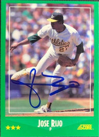 Jose Rijo Signed 1988 Score Baseball Card - Oakland A's
