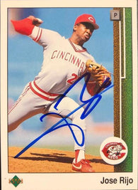 Jose Rijo Signed 1989 Upper Deck Baseball Card - Cincinnati Reds